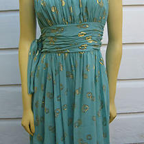 New Bcbg Max Azria Aqua Strapless Silk Chiffon Dress Gold Thread 12 Short Prom Photo