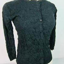 New Bcbg Maxazria Black Crinkle Nylon Cardigan Button Down Top/sweater Smsr130 Photo