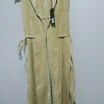 New Bcbg Maxazria Gaia Faux-Suede Long Vest Pale Khaki Comb Size M Photo
