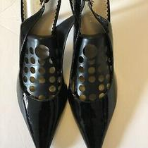 New Bcbg Paris Patent Black Leather Sling Back  Heels Classic Sz 10 B Photo