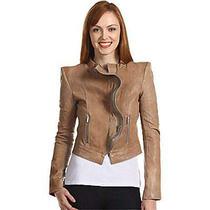 New Bcbg  Zipper-Detail Genuine Leather Jacket  Color Soy Chai Xs 498 Lqy4d225 Photo