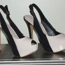 New Bcbgeneration Blush and Black Covered Platform Slingback Stiletto Heels 8.5 Photo