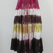 New Be Be Skirt Fit & Flared Size M Tie Dyed Full Skirt 100% Cotton   Waist Band Photo