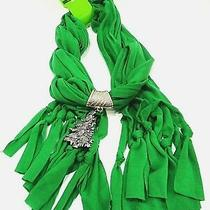 New Be Jolly Womens Charm Neck Scarf Green Silver Christmas Tree Home Elements Photo