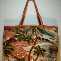 New Beaded Sequined Tote Purse Handbag Christy Orange Green Palms Beach Tropical Photo