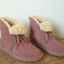 New Bearpaw Christie Suede Fringe Blush  Ankle Boot   9m Photo