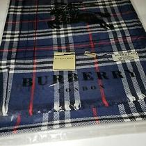 New Beautiful Midnight Blue Burberry Reversible Check Women's Cashmere Scarf Photo