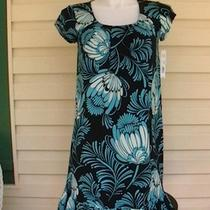 New Beautiful Sz M Apt 9 Stretch Aqua Black & White Dress W/ Pockets Summer Photo