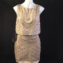 New Bebe 2 Pc Set Mini Skirt & Crop Top Beige/gold  Sz 8 Photo