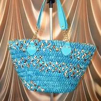 New Bebe 2b Purse Beach Tote Handbag Woven Animal Print Photo