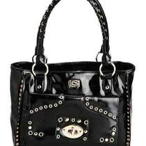 New Bebe Christie Handbag Turnlock Tote Bag Black Purse Photo