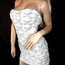 New Bebe Dress L Large White Corset Tube Bodycon Sequin Cross Back Top Zip Sexy Photo