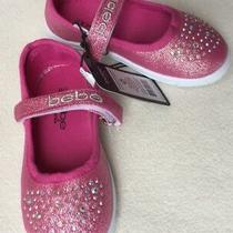 New Bebe Girls Bright Pink Canvas Mary Jane Sneakers Crystals Sz 7/8 Photo
