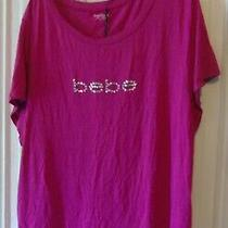New Bebe Plus 1x  Pink Short Sleeve Shirt Silver Studs  Logo Photo