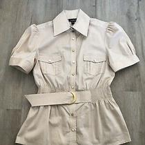 New Bebe Size Large L Tan Beige Button Down Safari Blouse Top Shirt Belted Rare Photo