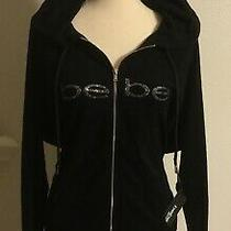 New Bebe Terry Cloth Hoodie With Rhinestone Logo Womens Size 2x  Photo