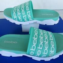 New  Bebe Wo's Nadeen Green/ White Slides Casual Sandals Size 9/ Eur 40  Logo Photo