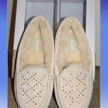 New Beige Ugg Suede Mocassin Slippers Sz 5 Swarowski Crystals Sheep Wool Lining  Photo
