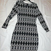 New Belle Badgley Mischka Black and White Stretchy Fabric Dress Size M Photo