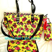 New Betsey Johnson 3pc Yellow Floral Baby Girl Diaper Tote Bag Bottle Pad Set Photo