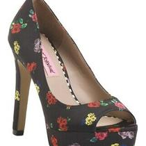 New Betsey Johnson Black Floral Open Toe Pumps/ Size 8.5 Photo
