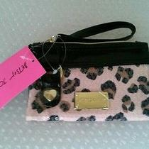 New Betsey Johnson Blushing Cheetah Double Pocket Wristlet Nwt Sequins Sequin Photo