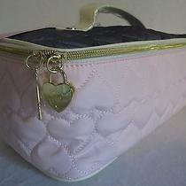 New Betsey Johnson Cosmo Top Handle Travel /blush/gray Cosmetic Bagbb16830nwt Photo