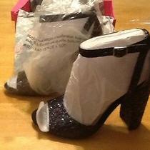 New Betsey Johnson Glissten Black Glitter Shoes Sandals Ankle Strap Open Toe 7 Photo
