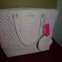 New Betsey Johnson Gorgeous Large Quilted Hearts Be Mine Blush Bb16010 Purse Bag Photo
