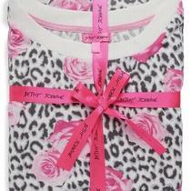 New Betsey Johnson Pink Floral Rose & Leopard Pajama Set/ Medium/ Msrp 68 Photo