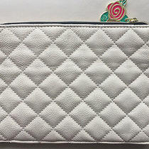 New Betsey Johnson Quilt Clutch Bone White Flat Cosmetic Bag Handbag Pouch New  Photo