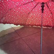 New Betsey Johnson Red Pink & White Hearts Love Automatic Compact Umbrella Photo