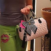 New Betsey Johnson Satchel Blush Pink Black Bag Striped Bow Faux Leather Medium Photo