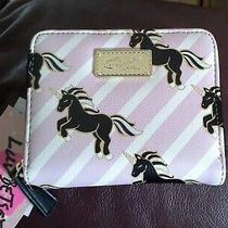 New Betsey Johnson Wallet Zip-Around Small Unicorn Pink & White Stripes 38 Msrp Photo