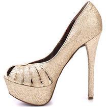 New Betsey Johnson Women's  Breann-G Gold Glitter Open Toe Pump Shoes  8.5 129  Photo