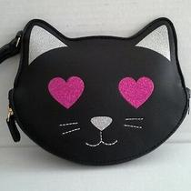 New Betsey Johnson Wristlet Clutch Black Cat Glittered Eyes Msrp 38 Photo