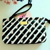 New Betsey Johnson Wristlet Clutch Large Black White Pink Cats Striped Msrp 48 Photo