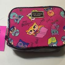 New Betsey Johnson Zip Owl Makeup Bag Pouch Cosmetic Purse Travel Photo