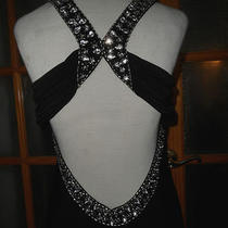 New Betsy & Adam 2 Layers Black Party Dress  Shiny Diamond Rhinestones Size 10 Photo