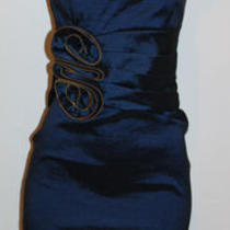 New Betsy Adam Sapphire Blue Gold Zipper Rosette Ruched Taffeta Sheath Dress 10 Photo