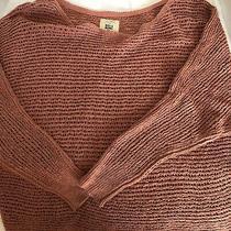 New Billabong Dusty Rose Open Knit Dolman Sleeve Crop Sweater Size S Photo