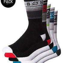 New Billabong Men's Stripe Sports Socks 5 Pack Logo Underwear Black Photo