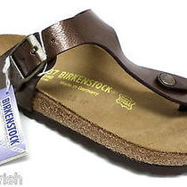 New Birkenstack 'Gizeh' Size 6 Sandals 37 Shoes Brown Bronze W/tag Photo