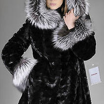 New Black Mink Pieces Fur Jacket Coat Parka Hood With Natural Silver Fox Trim Photo