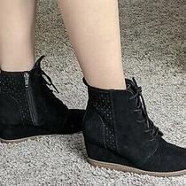 New Black Mossimo Lace Up Faux Suede Leather Wedges Heels Shoes W/ Cutouts Us 6 Photo