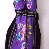 Newblack Purple Pink Cottage Rose Halter Jewel Aqua Vacation Dressl/large/12 Photo
