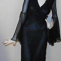 New Black Silk Dress With Beige Dots by Express Size 1/2 Photo