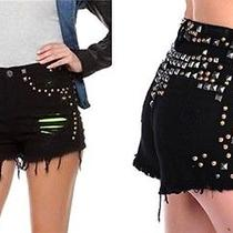 New Blank Nyc Bike Kill Black High Waisted Waist Destroyed Studded Jean Short 27 Photo