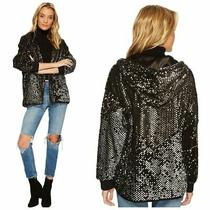 New Blank Nyc Sequin Bomber Black Light Silver Hoodie Full Zip Ribbed Cuff Small Photo