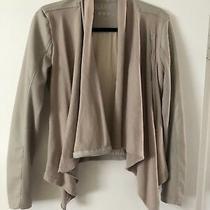 New Blank Nyc Size Small Neutral Beige Drape Faux Leather Moto Jacket Photo